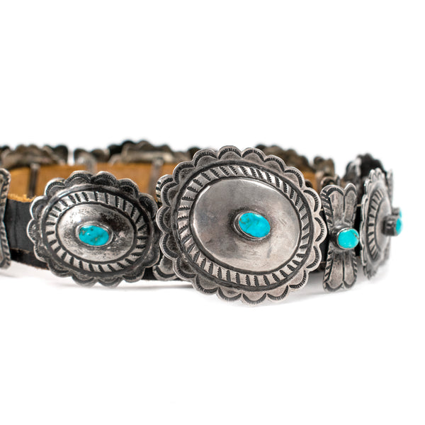 Vintage Sterling Silver & Turquoise Concho Belt