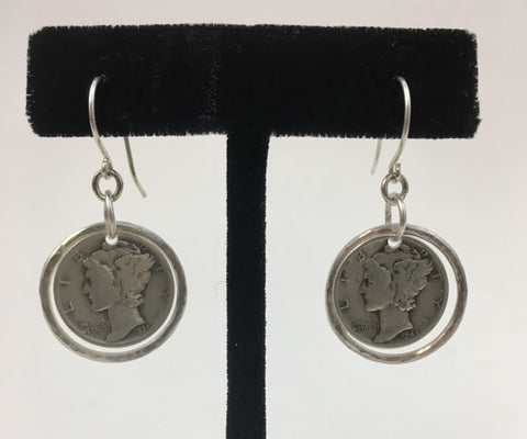 Silver Hoop Mercury Dime Earrings by Jerilynn Yazzie