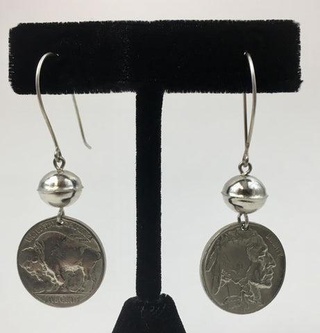 Coin Dangle Earrings with Silver Beads by Jerilynn Yazzie