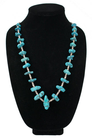 Turquoise Nugget Heishi Necklace