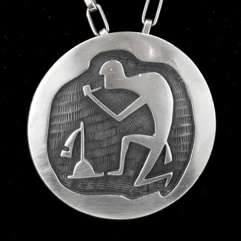 Sterling Silver Hopi Priest Pendant Pin