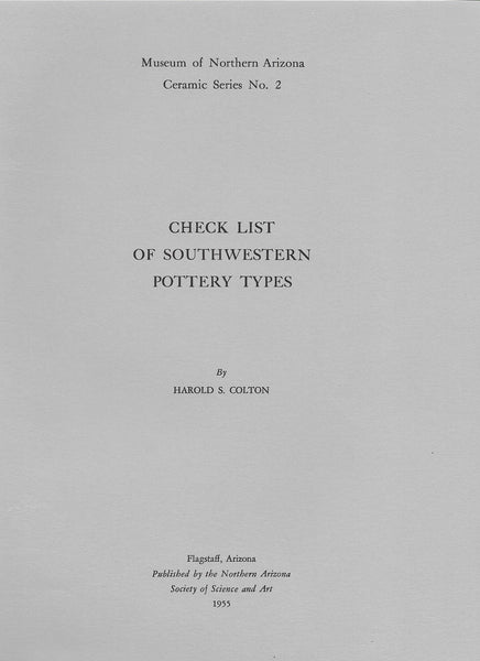 Check List of Southwestern Pottery Types