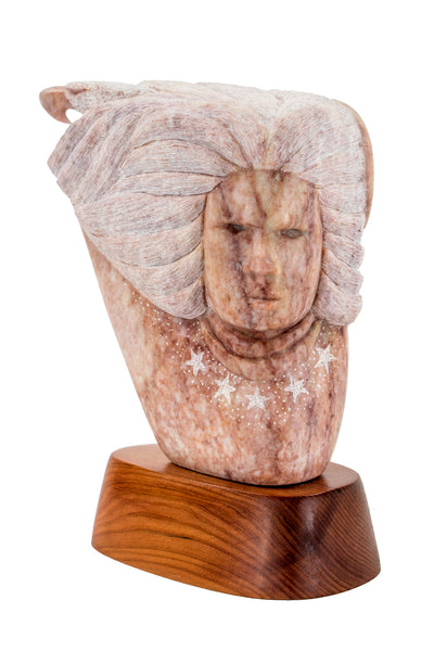 "Alabaster ""Eagle Spirit"" Sculpture by Marvin Toya"
