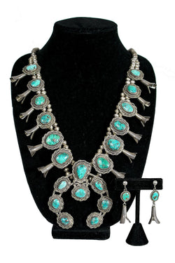 Vintage Turquoise Squashblossom Necklace & Earring Set