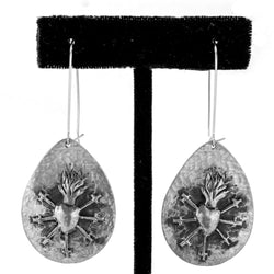 Sterling Silver Sword Heart Earrings by Ralph Sena