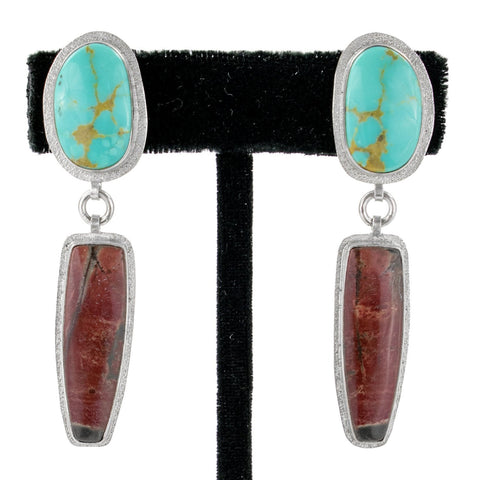 Agate & Turquoise Earrings by Ralph Sena