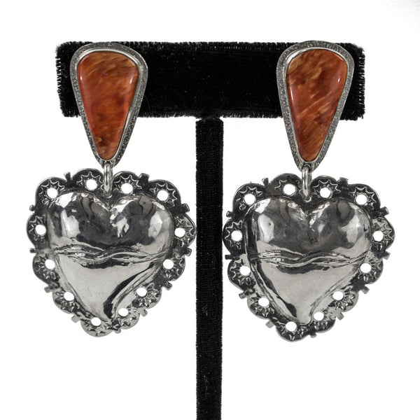 Spondylus Shell Scared Heart Earrings by Ralph Sena