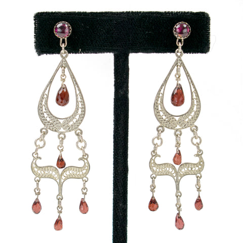 Garnet Chandelier Earrings by Ralph Sena