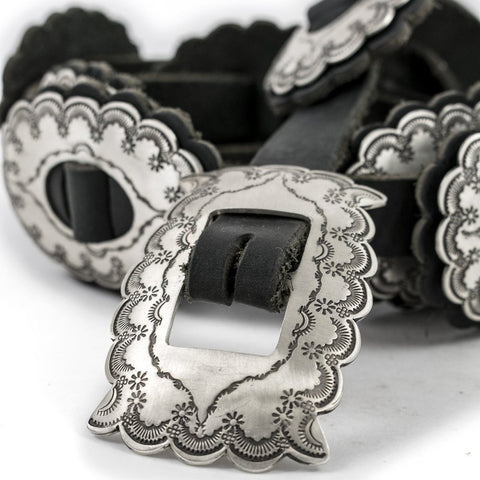 Hispanic Stamped Sterling Silver Brushed Concho Belt by Ralph Sena