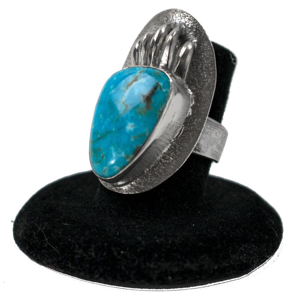 Kingman Turquoise Bear Claw Ring by Ralph Sena (Size 6.75)