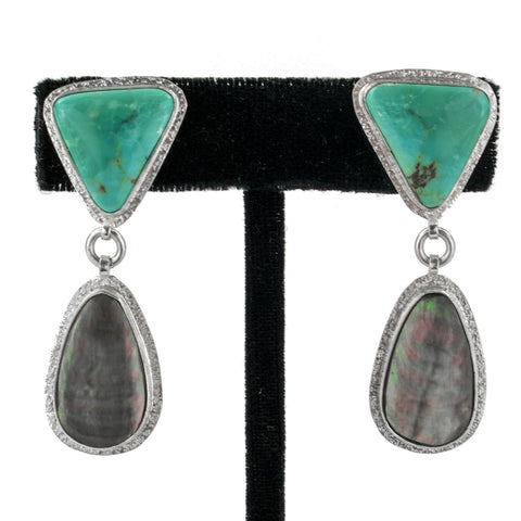 Mother of Pearl & Turquoise Earrings by Ralph Sena