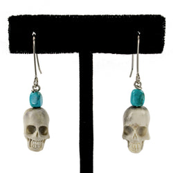 Turquoise-Skull Earrings by Ralph Sena
