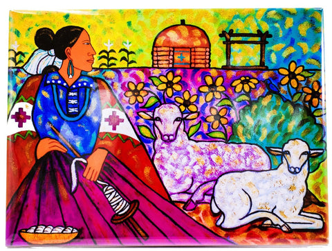 Native American Woman with Sheep Tile by Beverly Blacksheep