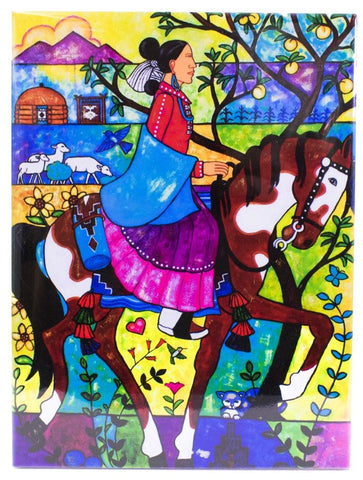 Native American Woman on Horse Tile by Beverly Blacksheep