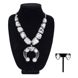 Sterling Silver White Buffalo Earrings & Necklace Set by Curtis Pete