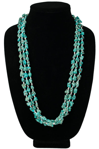 Triple Strand Turquoise Bead Necklace