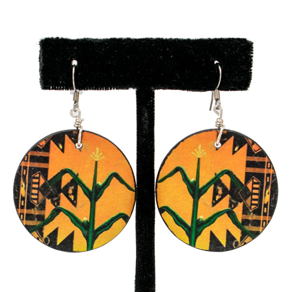 Wooden Cornstalk Earrings by Natachu Ink