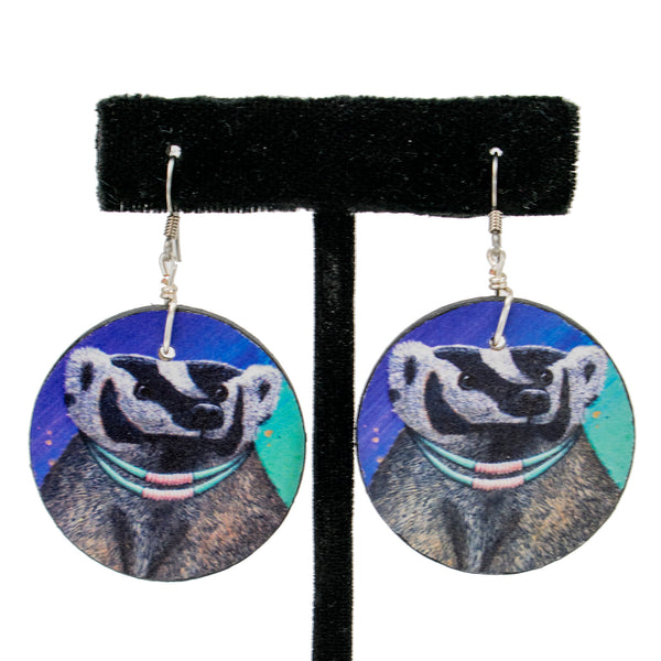 Wooden Badger Earrings by Natachu Ink