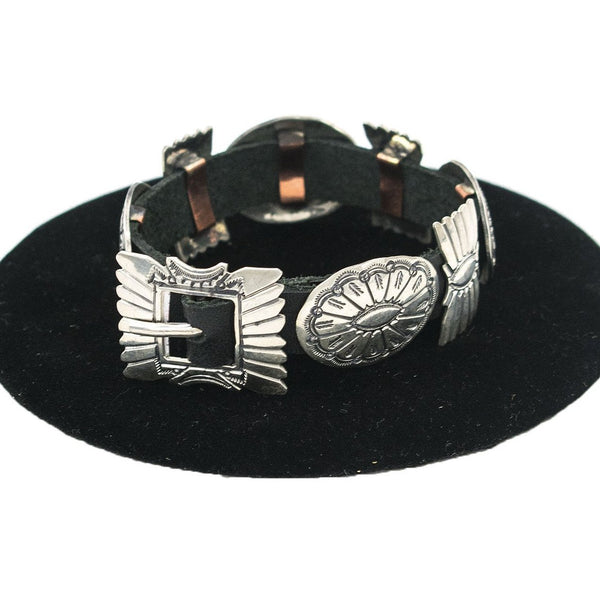 Conchos on Leather Bracelet by Jeanette Dale