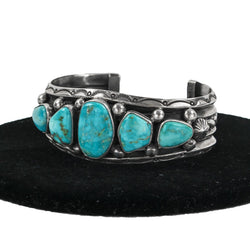 Sterling Silver Applique Stamped with Turquoise Cuff by Jeannette Dale