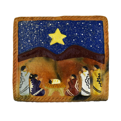 Folk Art Nativity Square Tile