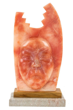 Rose Alabaster Face Sculpture by J.A. Vigil