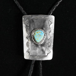 Turquoise-Sterling Silver Bola Tie by Jimmy Jackson
