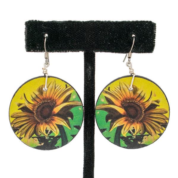 Wooden Sunflower Earrings by Natachu Ink