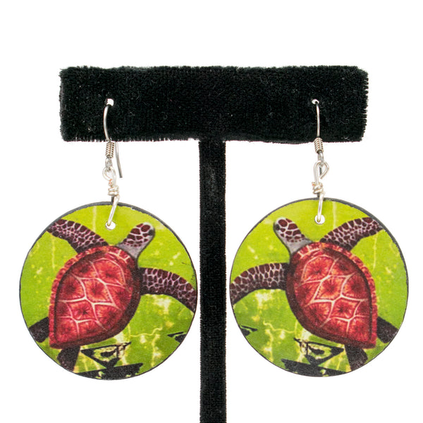 Wooden Seaturtle Earrings by Natachu Ink