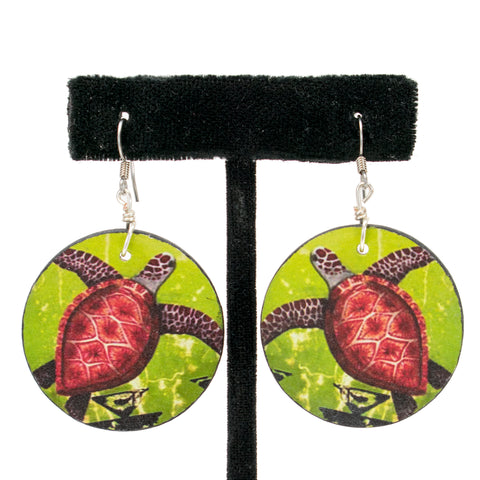 Wooden Turtle Earrings by Natachu INK