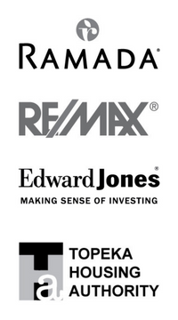 Image of client logos from Ramada, ReMax, Edward Jones, and the Topeka Housing Authority.