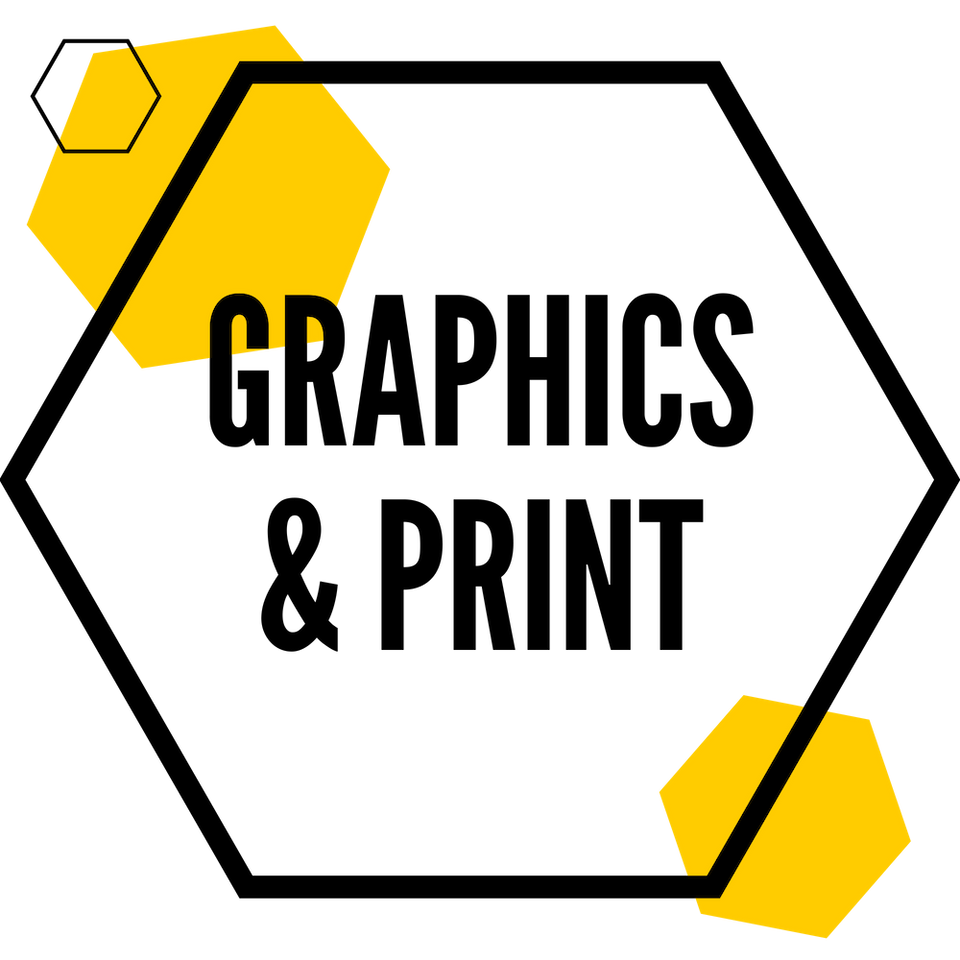 Image of graphics and print hexagon.