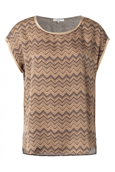 Satin Top with Zig Zag Print