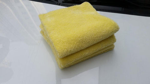 16'' x 16'' Plush 350gsm Yellow Korean Microfibre Edgeless Car Detailing Cloth