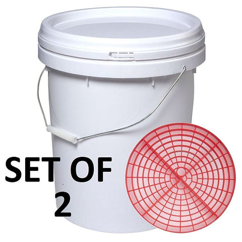 Set of 2 Buckets with Lids & Grit Guards