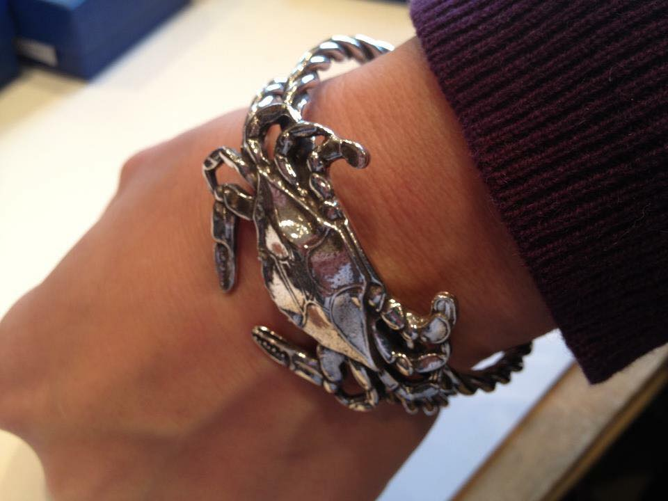 Crab Rope Cuff Bracelet in Pewter