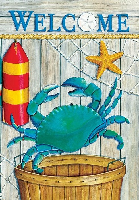 Crab Basket Welcome Flag