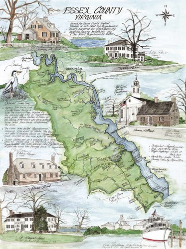 Historic Icons of Essex County, Virginia 17 x 22 Map Print