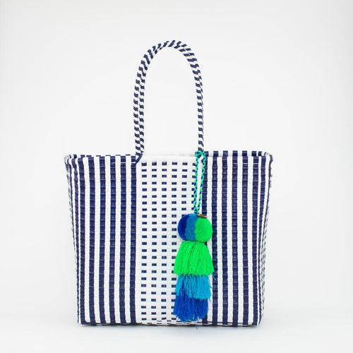 Preppy White and Blue Citron Bag