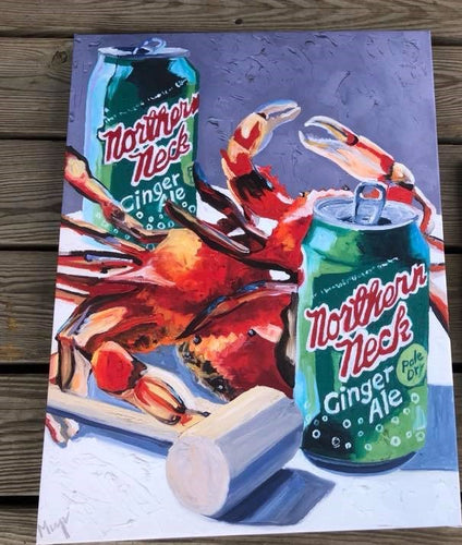 Northern Neck Ginger Ale & Crab Canvas by Chris Mize  18
