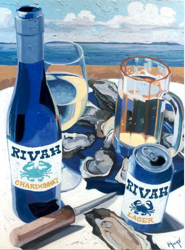 Christopher Mize 9 X12 Rivah wine and beer canvas