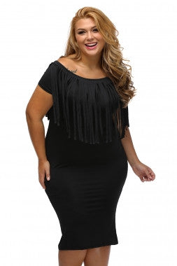 041b8da34b7 Black Short Sleeve Fringe Plus Size Dress – SLPosh