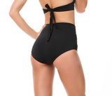 KNOTTED FRONT WIDE WAISTLINE BLACK BOTTOM