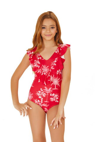 Cherry Versalles Ruffled straps kids one piece