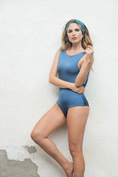 Blue Loose back one piece