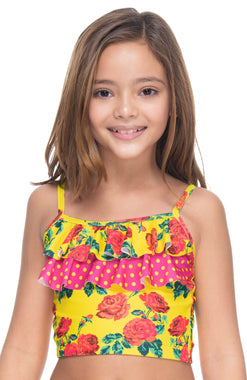 BRIGHT GARDEN GIRL'S RUFFLED TOP