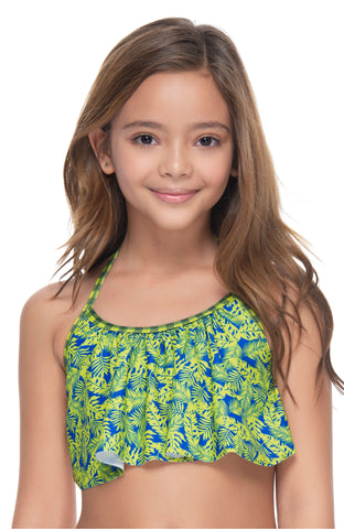 PALM  NOIR GIRL'S RUFFLED TOP