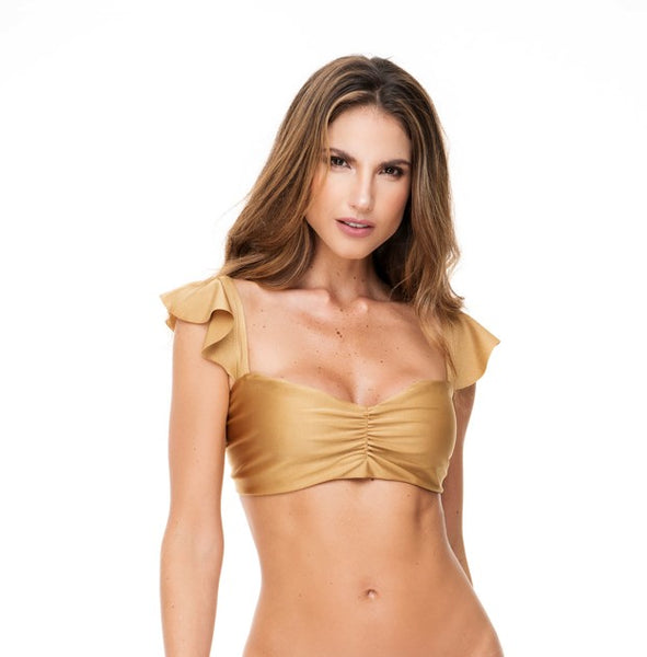 RUFFLED SHOULDERS GOLD TOP