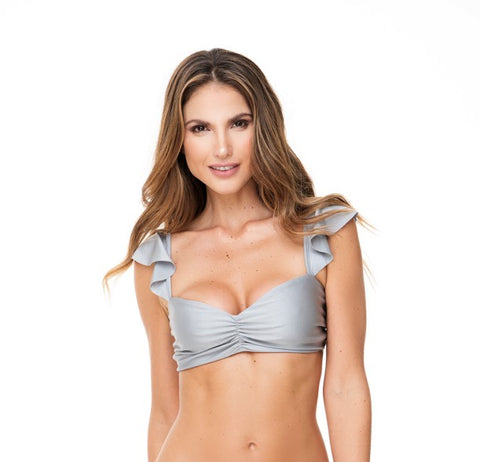 RUFFLED SHOULDERS SILVER TOP