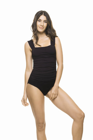 BLACK DRAPING ONE PIECE
